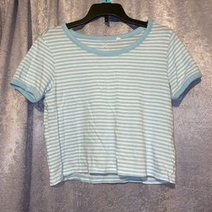 Blue striped cropped top
